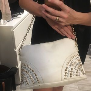 Aldo White Purse with Gold Studs and Jewels